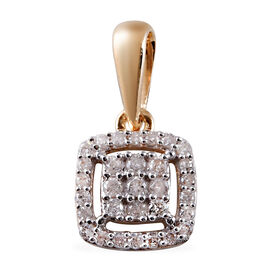 9K Yellow Gold SGL Certified Diamond (I3/G-H) Cluster Pendant 0.20 Ct.