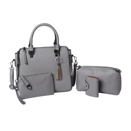 4 Piece Set - Grey Tote Bag, Crossbody Bag, Clutch Bag and Card Bag with Tassel Hanging