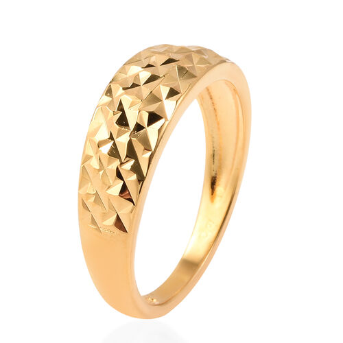 Yellow Gold Overlay Sterling Silver Diamond Cut Ring
