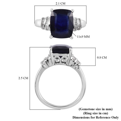 Masoala Sapphire and Diamond Ring in Platinum Overlay Sterling Silver 4.91 Ct.