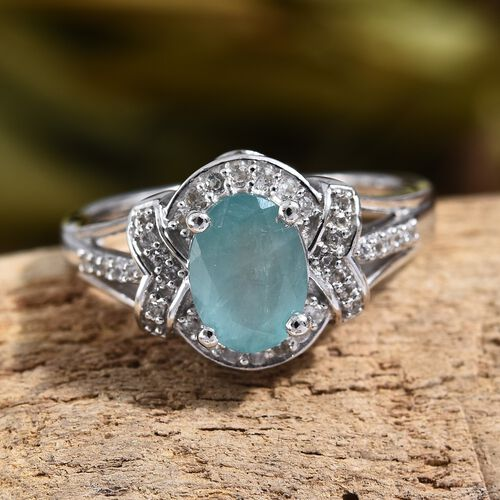 Grandidierite (Ovl), Natural Cambodian Zircon Ring in Platinum Overlay Sterling Silver 1.50 Ct.