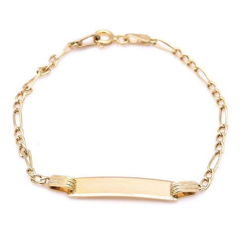 9CT Gold 60 Hollow Figaro Children ID Bracelet, Size 6 Inch