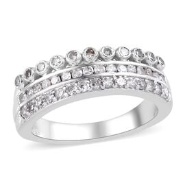Diamond (Rnd) Band Ring in Platinum Overlay Sterling Silver 0.40 Ct.