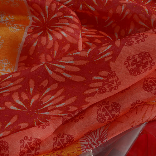 100% Mulberry Silk Red and Multi Colour Flower Printed Scarf (180x100 Cm)