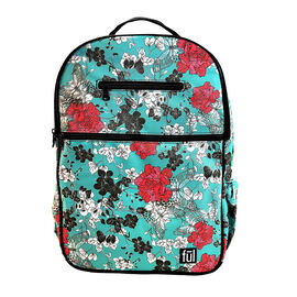 FUL Accra Janis Floral Print Laptop Backpack (Size 43x29x12 cm) - Teal Green and Red