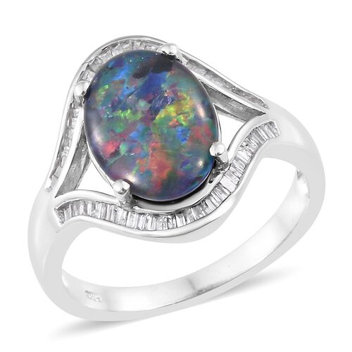 One Time Deal -Australian Boulder Opal (Ovl 14x10mm), Diamond Ring in Platinum Overlay Sterling Silver
