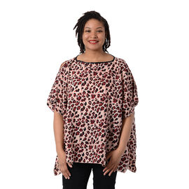 Leopard Print Blouse with Open Shoulder Design in Pink (Free Size / Length72 cm)