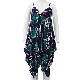 Navy Blue V-Neck Slip Dress with Green Leaf and Pink Flower Pattern