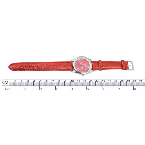 STRADA Japanese Movement Water Resistant Watch with Twriled Surface Murano Glass Pen - Red