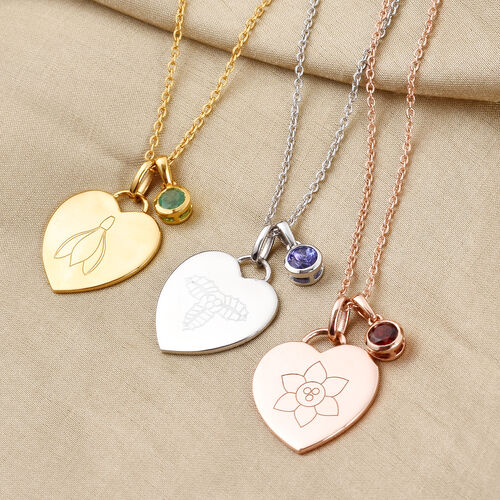 Personalise Engraved Birthstone,Birthflower and Name Heart Pendant with 20Inch Chain in Silver