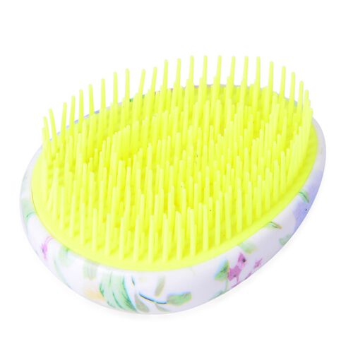 Set of 2 - Black, Yellow and Multi Colour Floral Pattern Comb