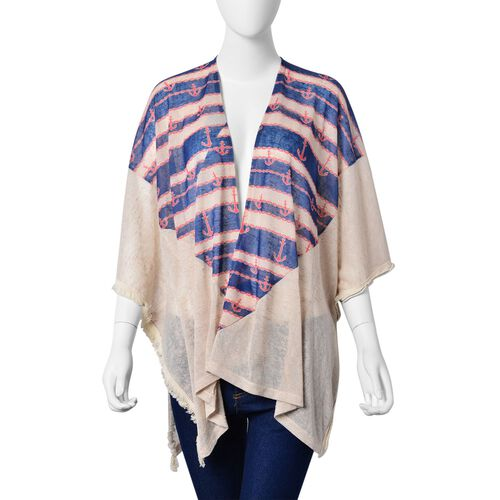 Red Anchor and Blue Stripe Pattern Off White Colour Poncho (Size 80X70 Cm)
