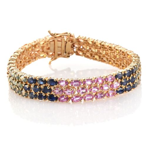 Pink Sapphire (Ovl), Kanchanaburi Blue Sapphire, Orange Sapphire, Green Sapphire and Yellow Sapphire Bracelet (Size 7.5) in 14K Gold Overlay Sterling Silver 31.750 Ct.