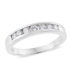 ILIANA 0.50 Ct Diamond Half Eternity Band Ring in 18K White Gold 3.30 Grams