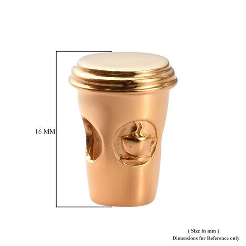 Charmes De Memoire - 14K Gold Overlay Sterling Silver Coffee Cup Charm, Silver wt 3.00 Gms