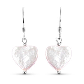 White Baroque Pearl Heart Hook Earrings in Rhodium Overlay Sterling Silver