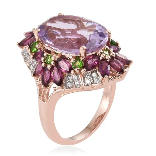 Rose De France Amethyst (Ovl 11.25 Ct), Rhodolite Garnet and Russian Diopside Ring in Rhodium and Rose Gold Overlay Sterling Silver 16.000 Ct. Silver wt 6.74 Gms.