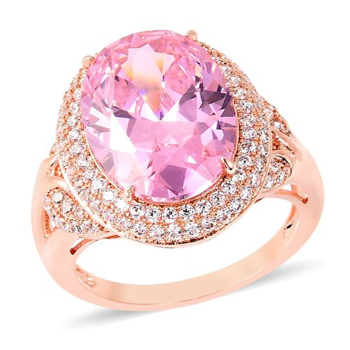 Simulated Pink Sapphire and Simulated Diamond Halo Ring in Rose Gold Tone