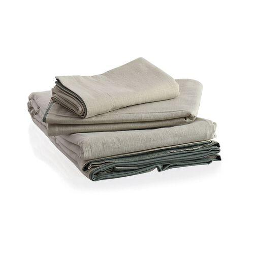 100% Cotton Green and Beige Colour Double Duvet Cover (Size 200 x 200 Cm) and 2 Pillow Case (Size 75x50 Cm)
