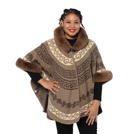 Half Round Shape Multi-Patterned Blanket Wrap with Faux Fur Collar (One size, L: 75cm) - Coffee Colo