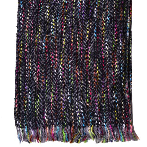 Designer Inspired-Black and Multi Colour Stripes Pattern Scarf with Fringes (Size 200X65 Cm)