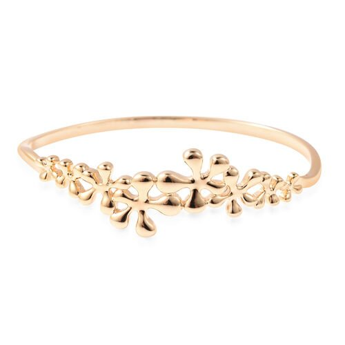 LucyQ Splash Collection - Yellow Gold Overlay Sterling Silver Bangle (Size 7)