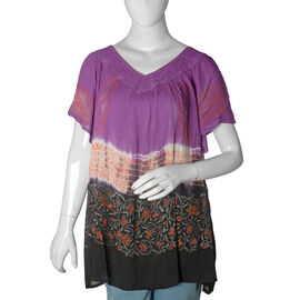 Purple and Multi Colour Floral Pattern Top (Free Size)