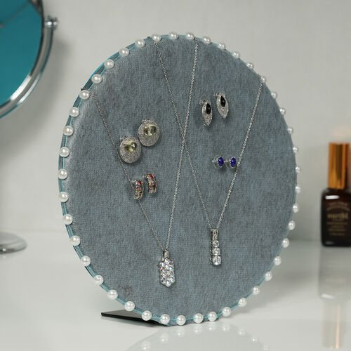 Table & Wall Jewellery Holder with Beaded Border (Colour: Blue; Dimension: 25.5 x 25.5 x 7 cm.; Weight: Approx 550 grms.)