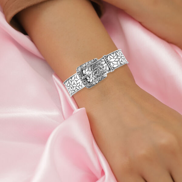 Royal Bali Collection- Sterling Silver Buckle Cuff Bangle (Size 8), Silver wt. 32.90 Gms