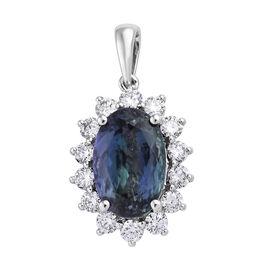 RHAPSODY 950 Platinum AAAA Peacock Tanzanite (Ovl), Diamond (VS/E-F) Pendant  8.810 Ct.