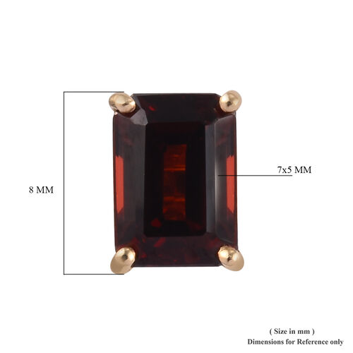 9K Yellow Gold AA Mozambique Garnet (Oct) Solitaire Stud Earrings (with Push Back) 2.45 Ct.