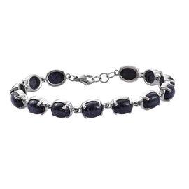 28 Ct Blue Sandstone Tennis Style Bracelet in Silver Tone
