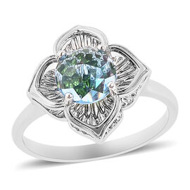 Blue Topaz, Russian Diopside and Mozambique Garnet Ring in Rhodium Overlay Sterling Silver 2.12 Ct.