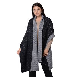 Speckled Pattern Reversible Winter Goffer Scarf (Size 65x180 Cm) - Grey and Black