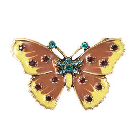 Blue and Red Austrian Crystal Enamelled Butterfly Brooch in Gold Tone