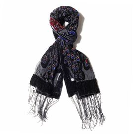 Blue, Grey and Multi Colour Peacock and Rose Flower Pattern Scarf with Tassels (Size 160x50 Cm)