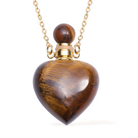 Yellow Tiger Eye Necklace (Size - 22) in Yellow Gold Tone 90.00 Ct, Gold Wt 18.60 Gms