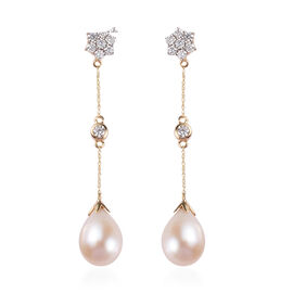 Special Order - ILIANA 18K Yellow Gold Freshwaer Pearl and Diamond Dangle Earrings (with Screw Back)
