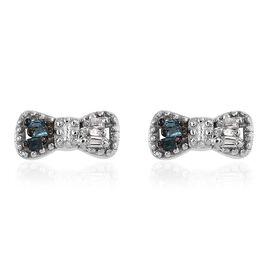 Diamond Platinum Overlay Sterling Silver Earring  0.040  Ct.