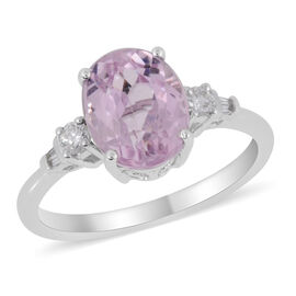Iliana 3.50 Ct Kunzite and Diamond Solitaire Design Ring in 18K White Gold 3.83 Grams