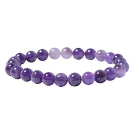 Amethyst Beads Stretchable Bracelet (Size 7) 90.00 Ct.