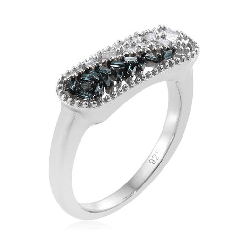 Blue and White Diamond (Bgt) Ring in Platinum Overlay Sterling Silver 0.205 Ct.