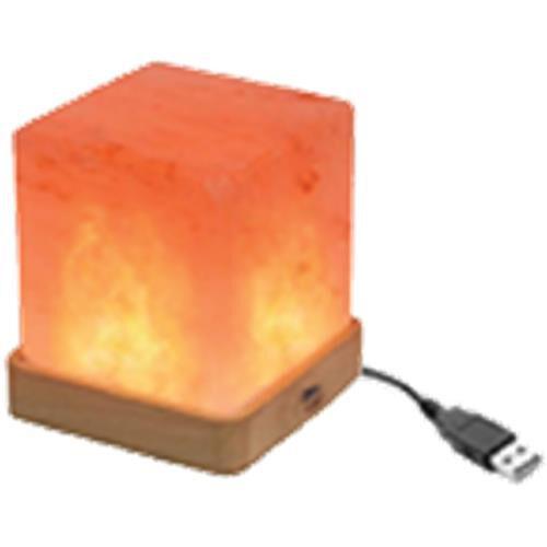 Square Shape Himalayan Salt Lamp with Colour Changing LED & USB Plug (Size 9.5x7 Cm) - Pink 0.5 Kg (
