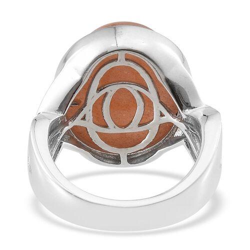 Morogoro Peach Sunstone (Ovl) Ring in Platinum Overlay Sterling Silver 16.000 Ct.
