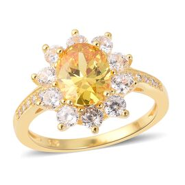 ELANZA Simulated Yellow Canary Diamond (Ovl), Simulated Diamond Ring in Yellow Gold Overlay Sterling