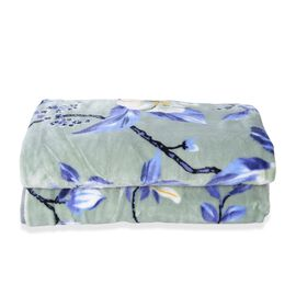 Microfiber Flannel Printed Blanket with Floral Pattern in Green and Multi Colour (Size 200x150 Cm)