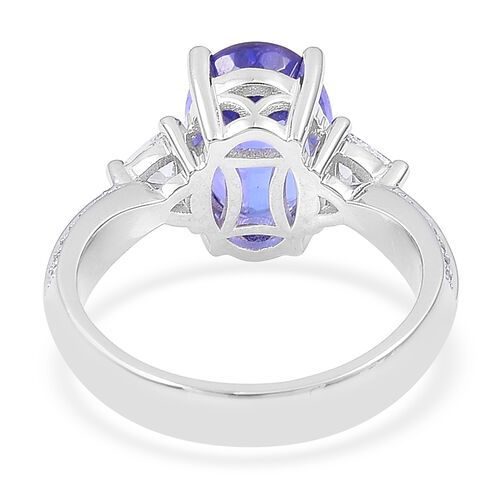 ILIANA 4 Carat AAA Tanzanite and Diamond (SI/G-H) Ring in 18K White Gold