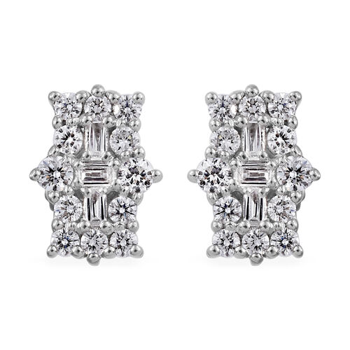 RHAPSODY 950 Platinum IGI Certified Diamond (Rnd) (VS/E-F) Boat Cluster Earrings (With Screw Back) 0