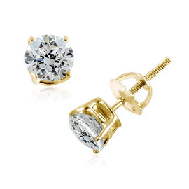 New York Close Out 14K Yellow Gold EGL CERTIFIED Diamond (Rnd) (I2/G-H) Stud Earrings (with Screw Ba