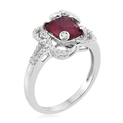 Designer Inspired - African Ruby (Cush 3.50 Ct), Natural Cambodian Zircon Ring in Platinum Overlay Sterling Silver 3.750 Ct.